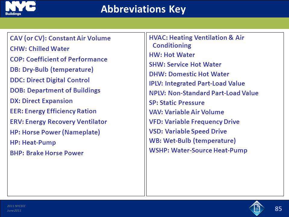 Abbreviations Key CAV (or CV): Constant Air Volume CHW: Chilled Water