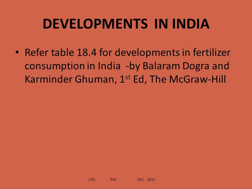 DEVELOPMENTS IN INDIA