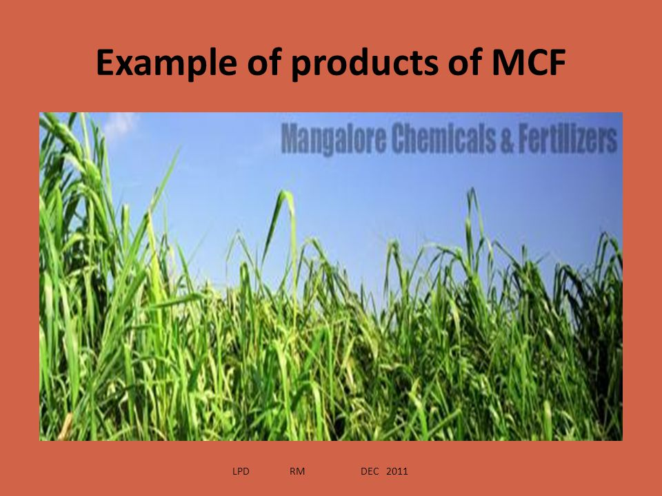 Example of products of MCF
