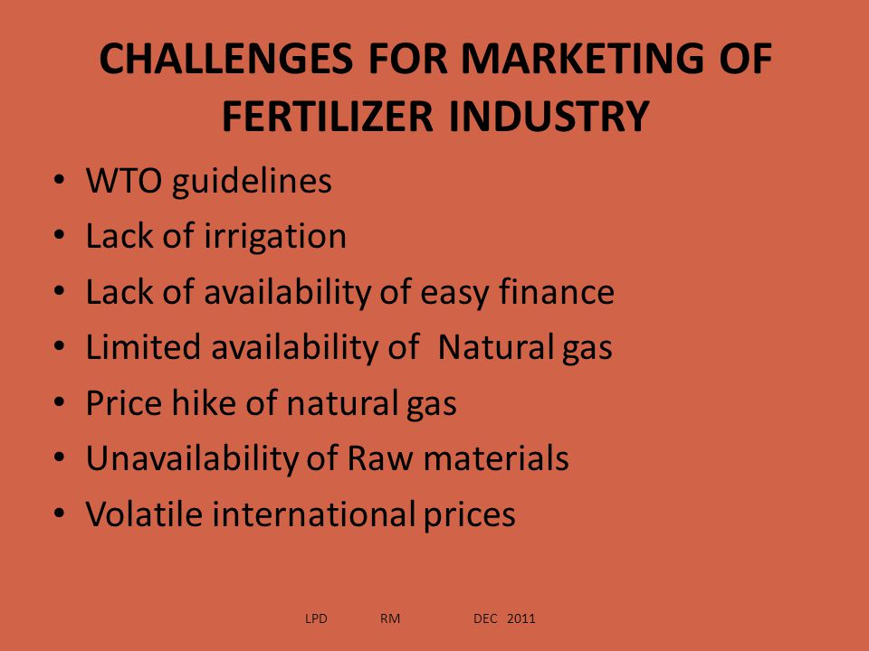 CHALLENGES FOR MARKETING OF FERTILIZER INDUSTRY