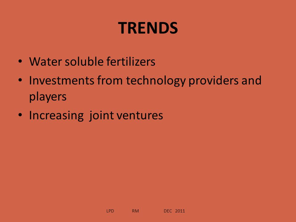 TRENDS Water soluble fertilizers
