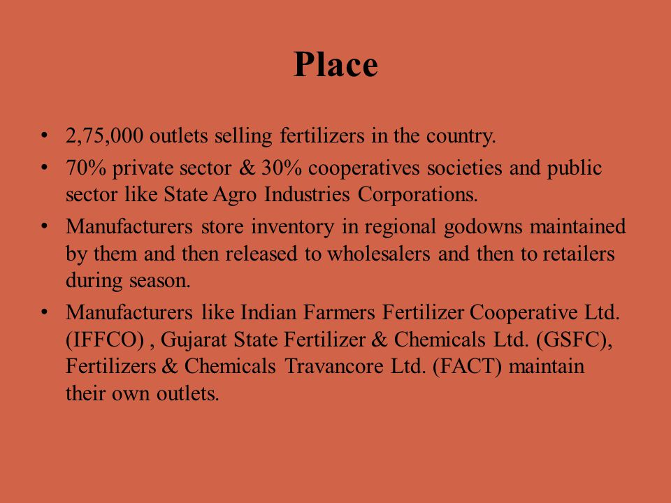 Place 2,75,000 outlets selling fertilizers in the country.