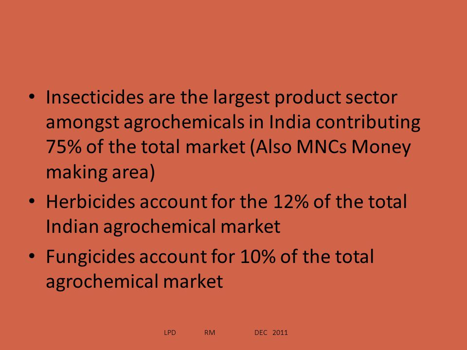 Herbicides account for the 12% of the total Indian agrochemical market