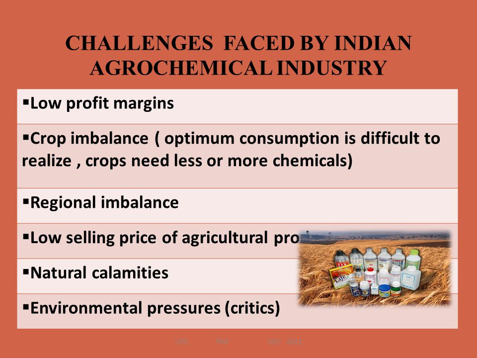 CHALLENGES FACED BY INDIAN AGROCHEMICAL INDUSTRY