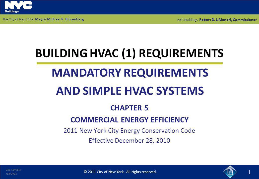 BUILDING HVAC (1) REQUIREMENTS
