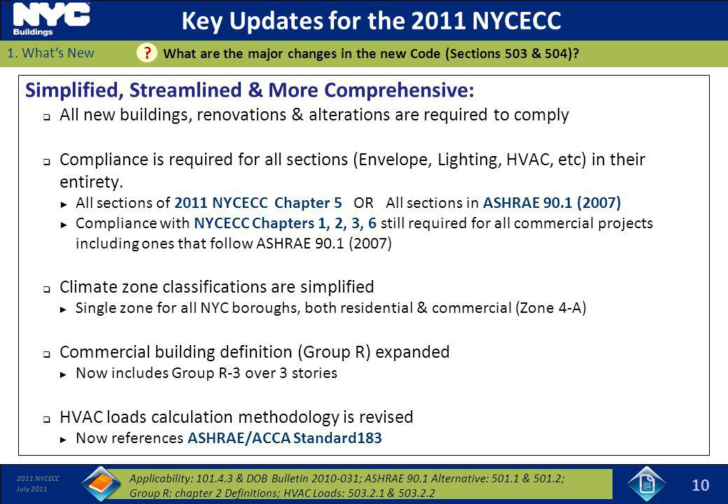 Key Updates for the 2011 NYCECC