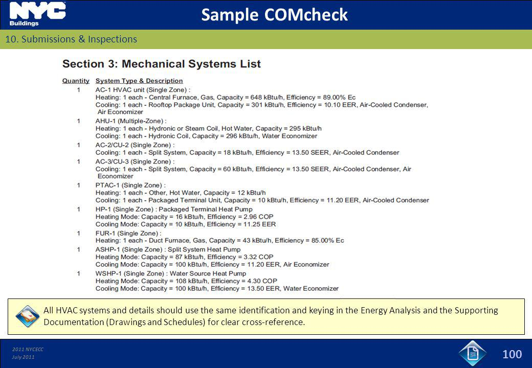 Sample COMcheck 100 10. Submissions & Inspections