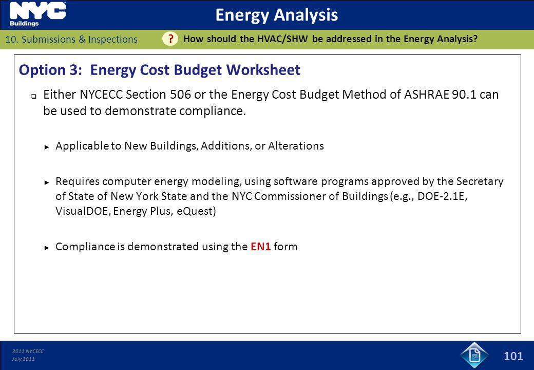 Energy Analysis Option 3: Energy Cost Budget Worksheet