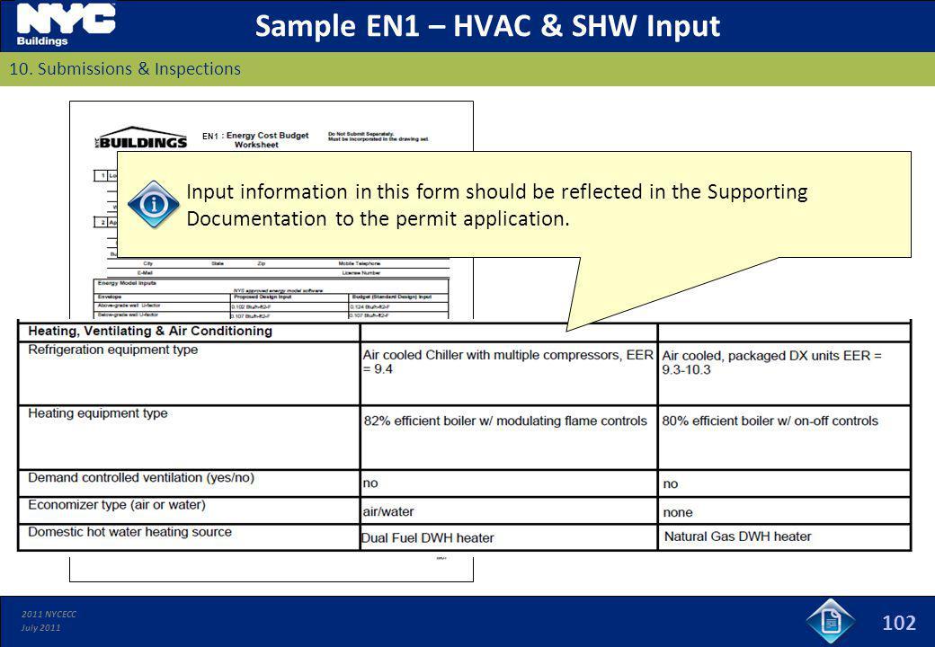 Sample EN1 – HVAC & SHW Input