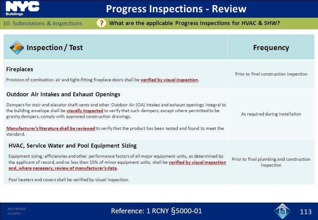 Progress Inspections - Review