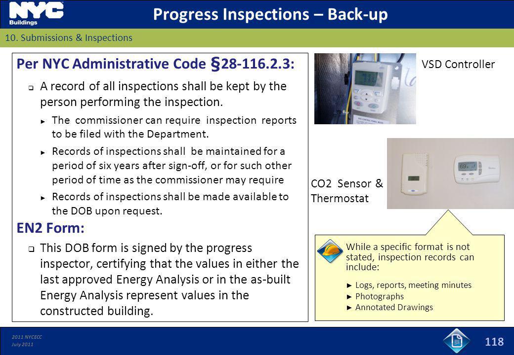 Progress Inspections – Back-up