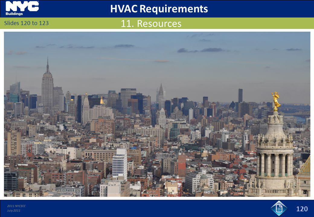 HVAC Requirements 11. Resources 120 Slides 120 to 123