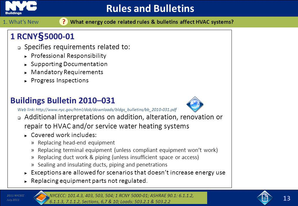 Rules and Bulletins 1 RCNY§5000-01 Buildings Bulletin 2010–031