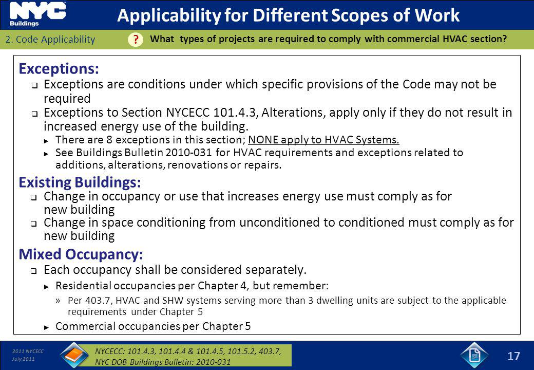 Applicability for Different Scopes of Work