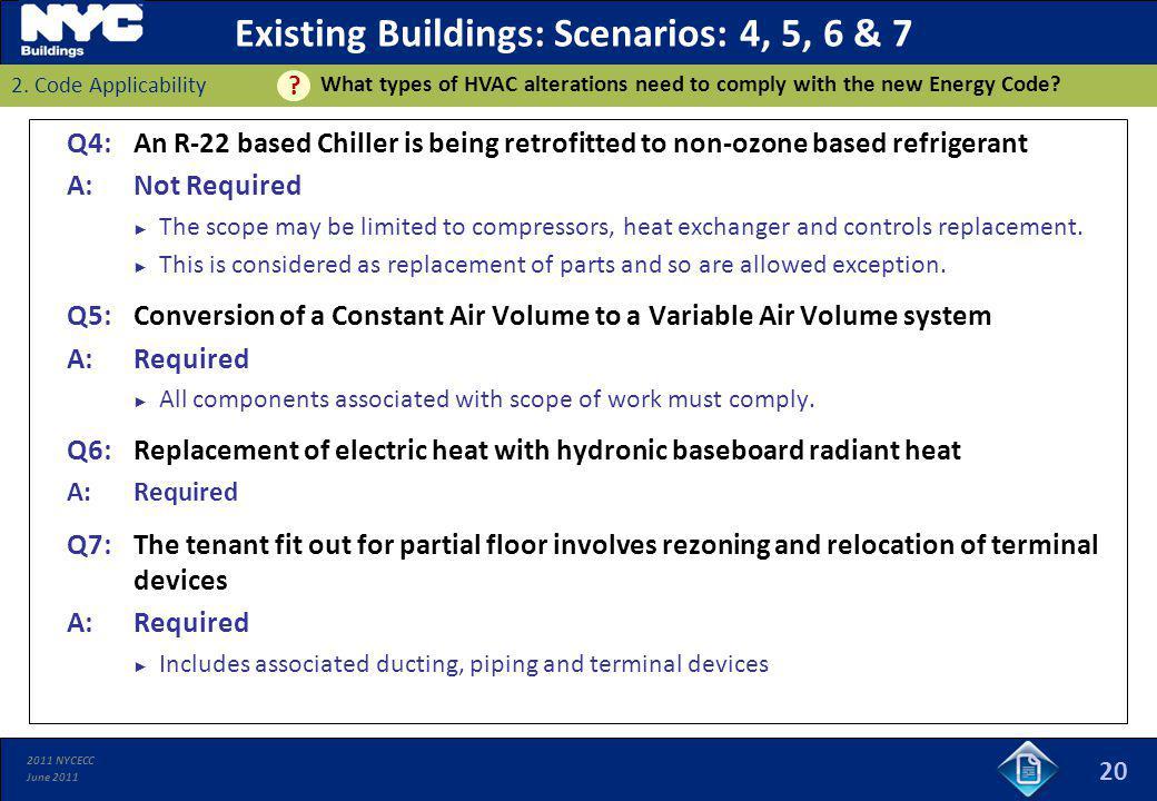 Existing Buildings: Scenarios: 4, 5, 6 & 7