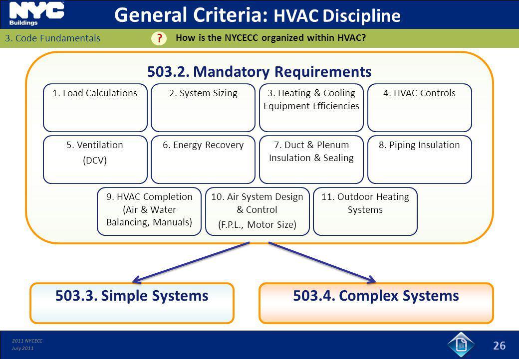 General Criteria: HVAC Discipline 503.2. Mandatory Requirements