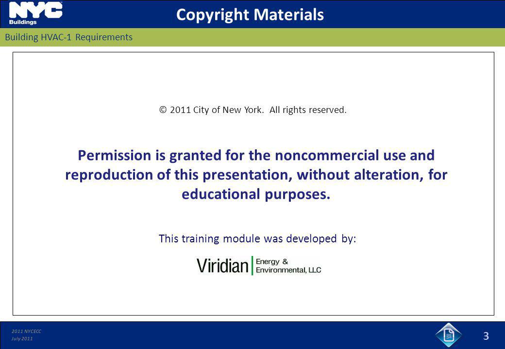 Copyright Materials Building HVAC-1 Requirements.