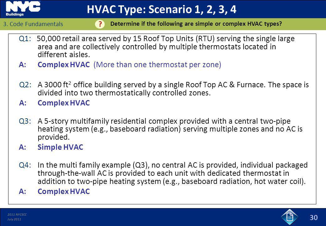 HVAC Type: Scenario 1, 2, 3, 4 Determine if the following are simple or complex HVAC types 3. Code Fundamentals.