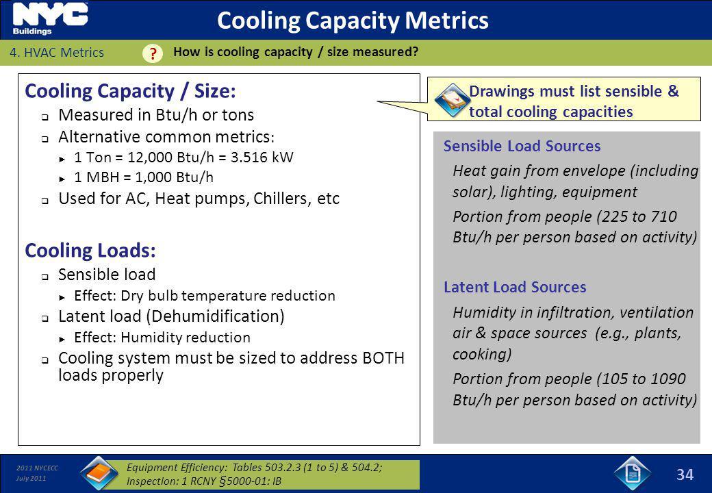 Cooling Capacity Metrics
