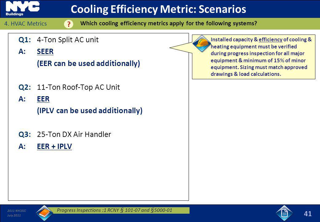 Cooling Efficiency Metric: Scenarios