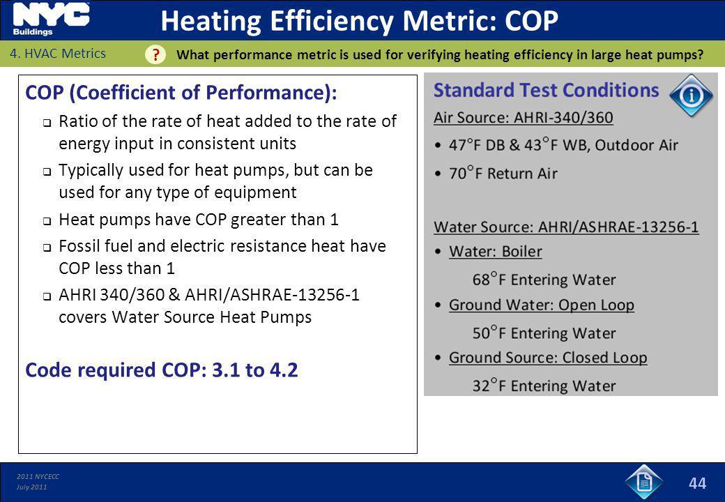 Heating Efficiency Metric: COP