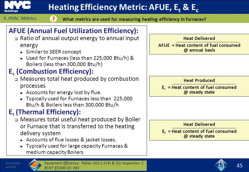 Heating Efficiency Metric: AFUE, Et & Ec