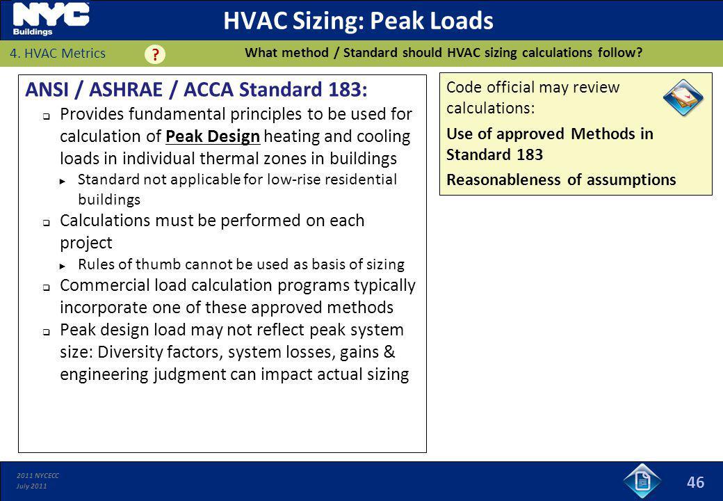 HVAC Sizing: Peak Loads