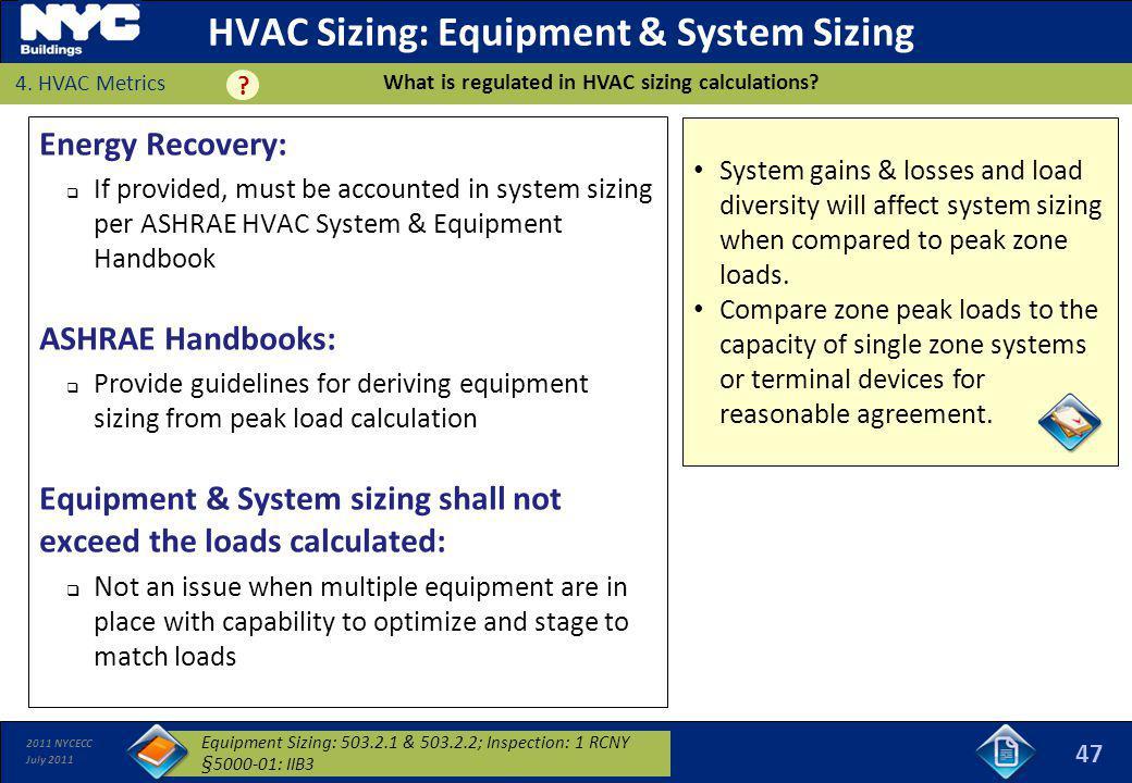 HVAC Sizing: Equipment & System Sizing