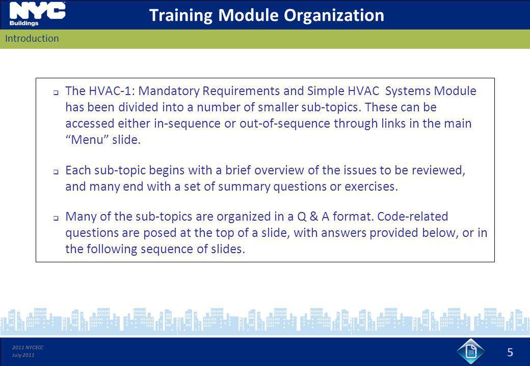 Training Module Organization