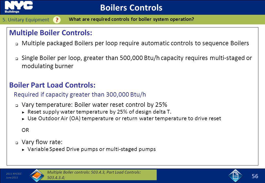 Boilers Controls Multiple Boiler Controls: Boiler Part Load Controls: