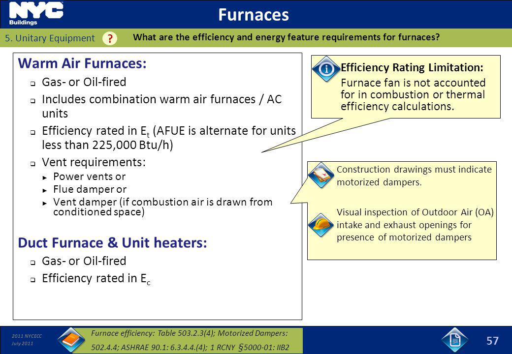 Furnaces Warm Air Furnaces: Duct Furnace & Unit heaters: