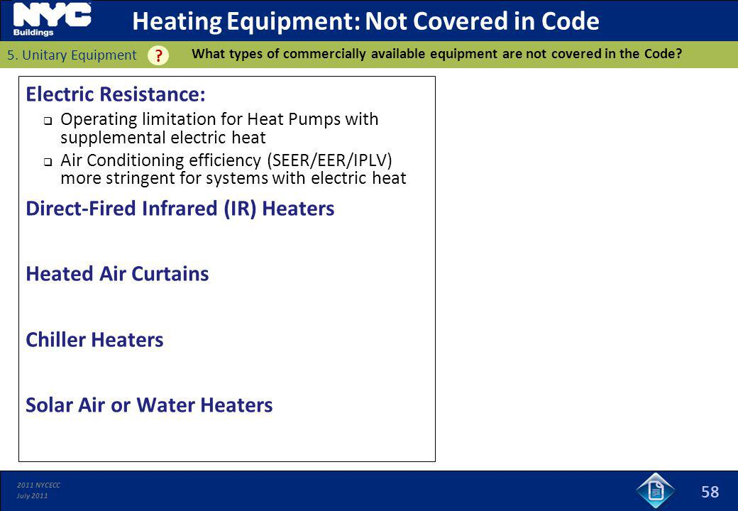 Heating Equipment: Not Covered in Code