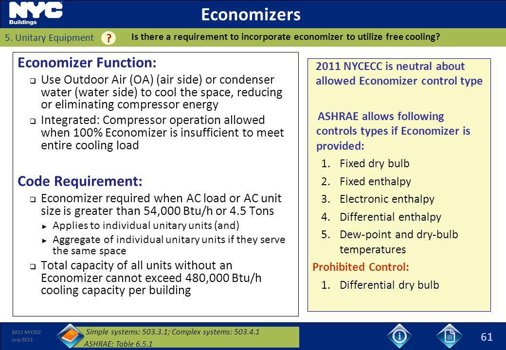 Economizers Economizer Function: Code Requirement: