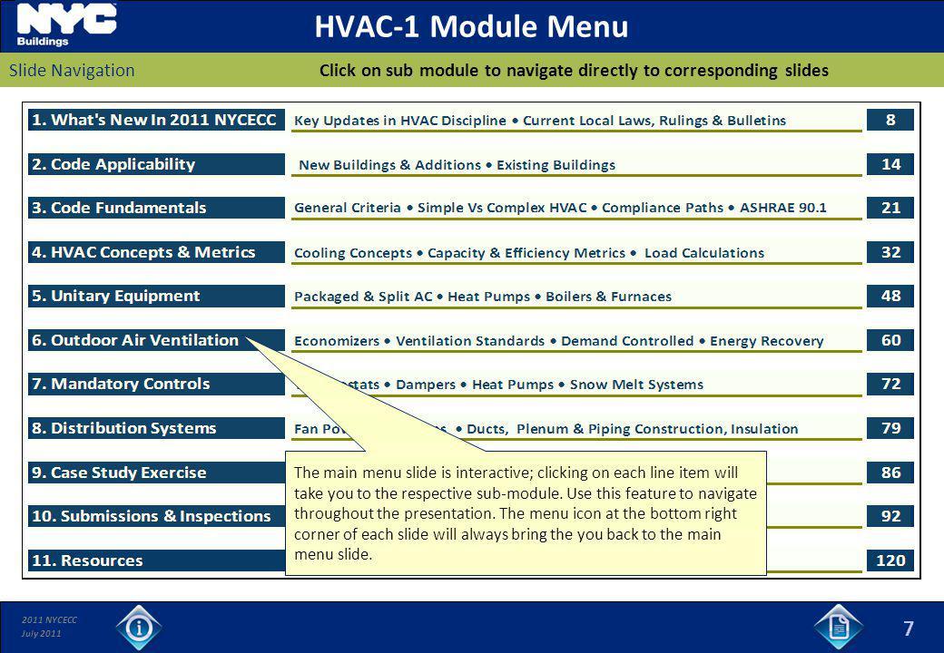 HVAC-1 Module Menu Click on sub module to navigate directly to corresponding slides. Slide Navigation.
