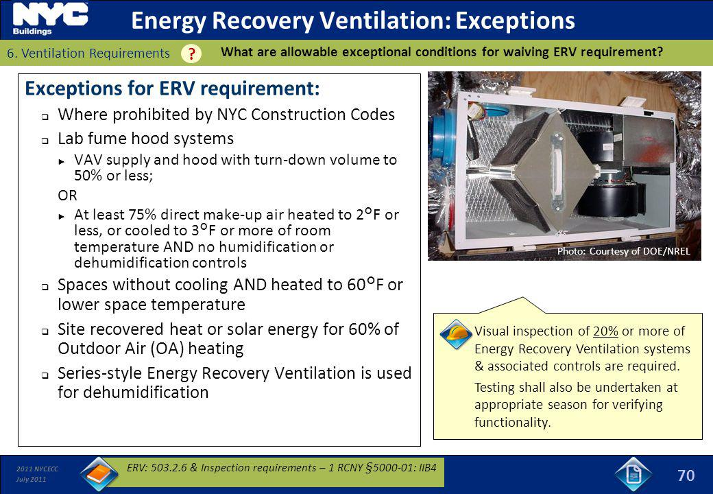 Energy Recovery Ventilation: Exceptions