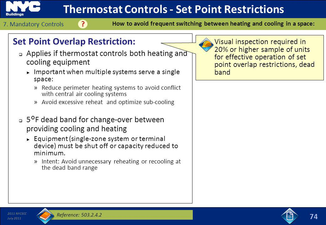 Thermostat Controls - Set Point Restrictions