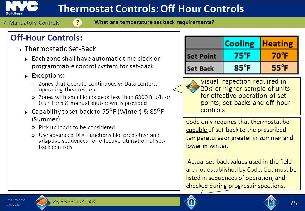Thermostat Controls: Off Hour Controls