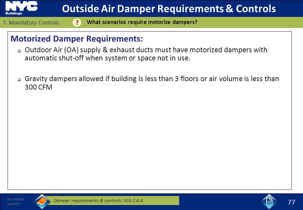Outside Air Damper Requirements & Controls