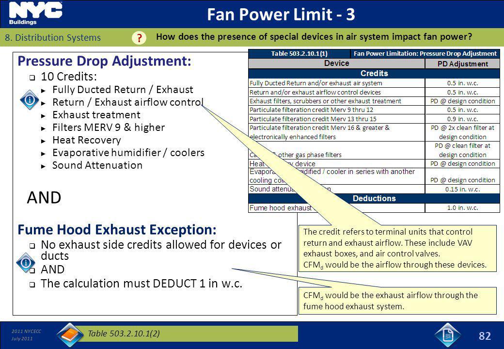 Fan Power Limit - 3 AND Pressure Drop Adjustment:
