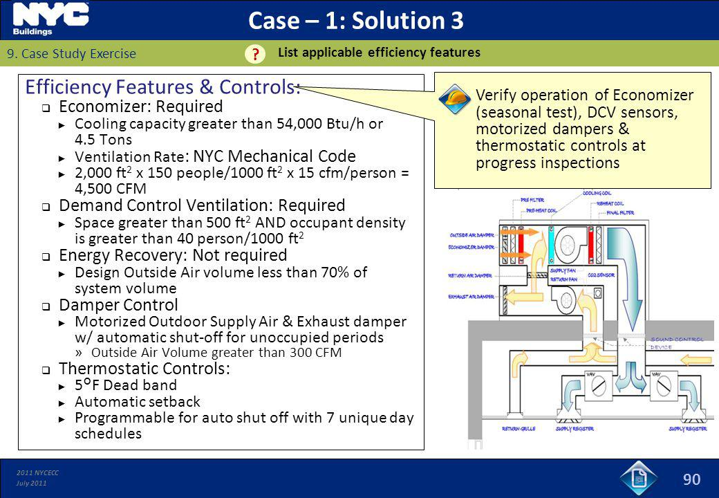 Case – 1: Solution 3 Efficiency Features & Controls: