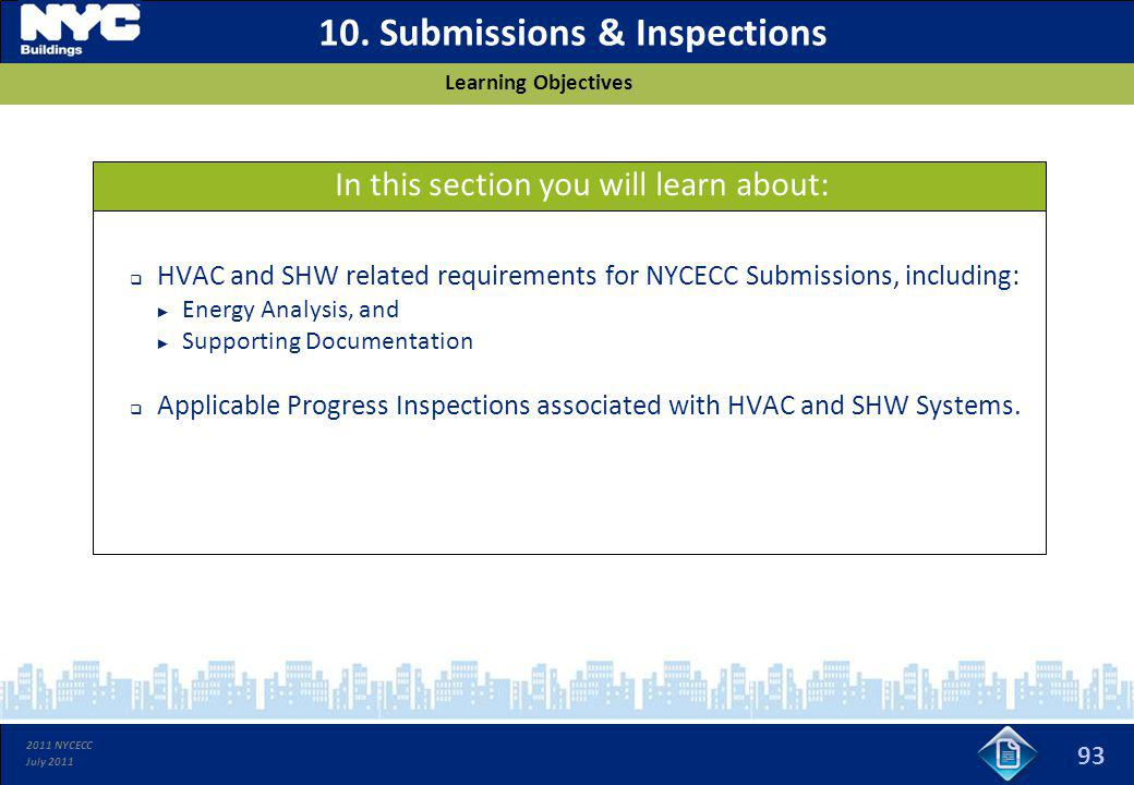10. Submissions & Inspections