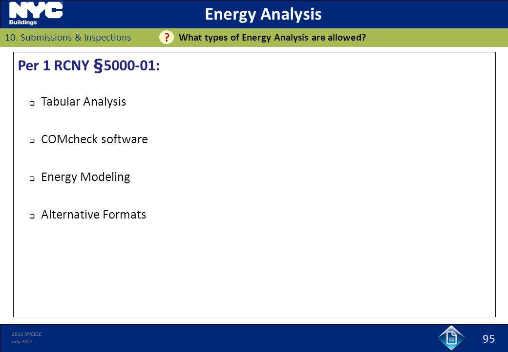 Energy Analysis Per 1 RCNY §5000-01: Tabular Analysis