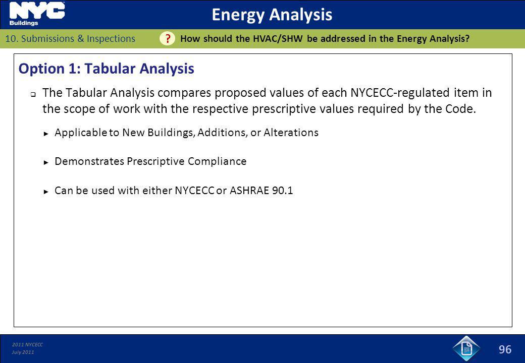 Energy Analysis Option 1: Tabular Analysis