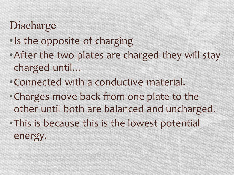 Discharge Is the opposite of charging