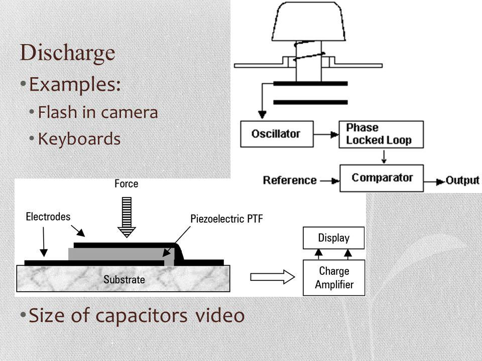 Discharge Examples: Flash in camera Keyboards Size of capacitors video