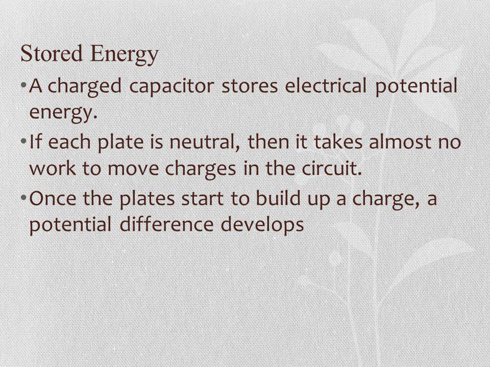Stored Energy A charged capacitor stores electrical potential energy.