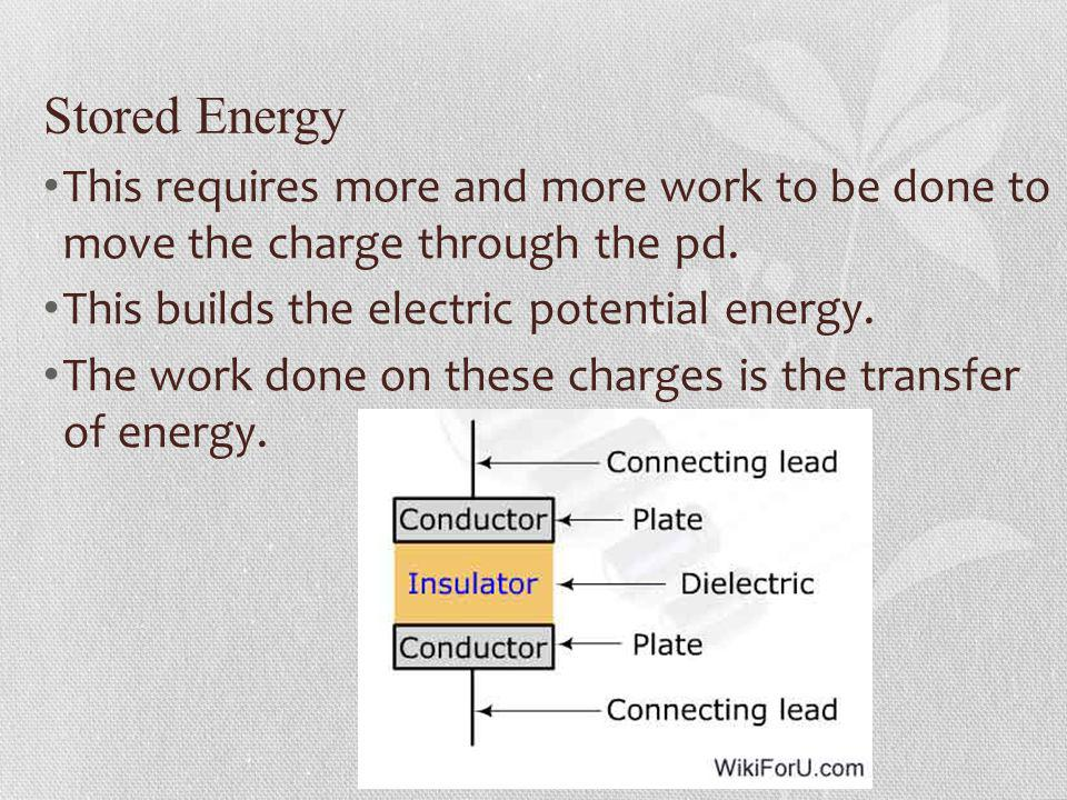 Stored Energy This requires more and more work to be done to move the charge through the pd. This builds the electric potential energy.