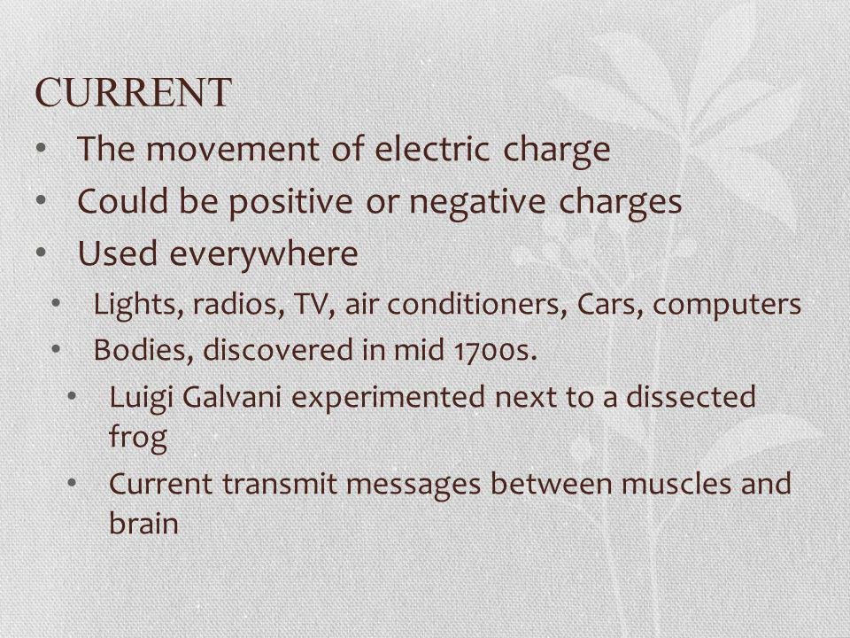 CURRENT The movement of electric charge