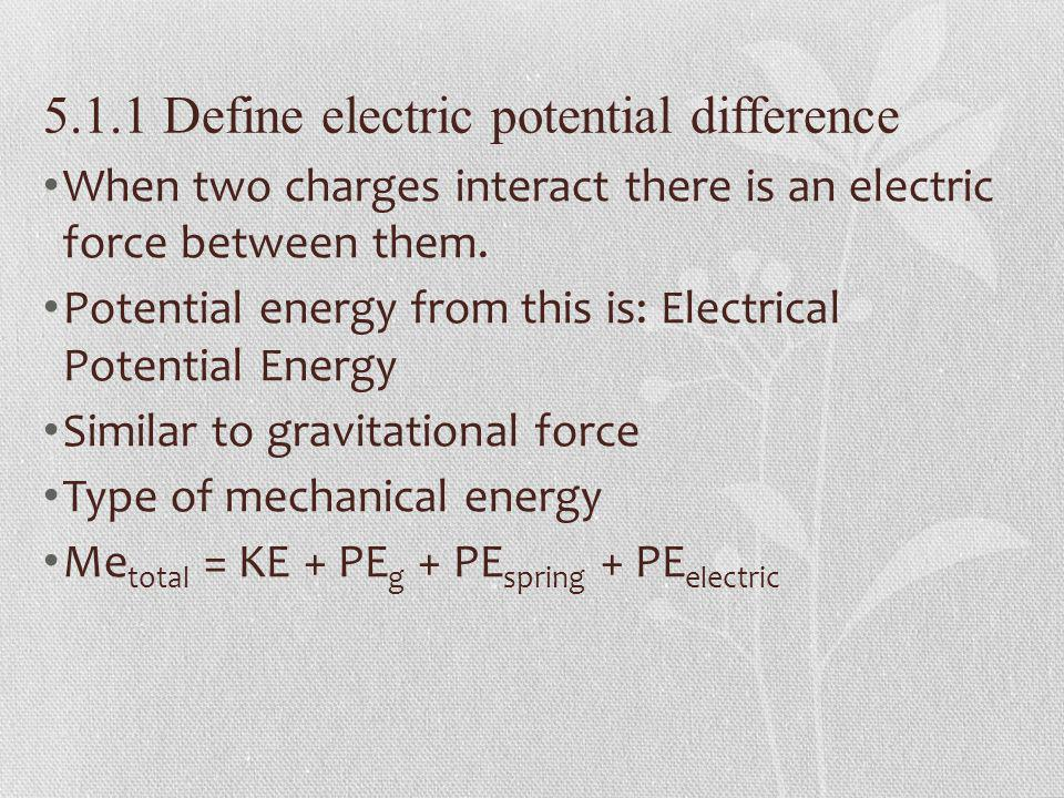5.1.1 Define electric potential difference