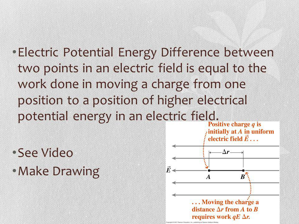 Electric Potential Energy Difference between two points in an electric field is equal to the work done in moving a charge from one position to a position of higher electrical potential energy in an electric field.